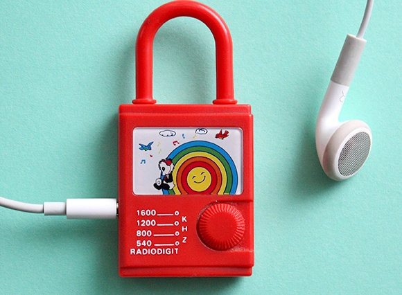 80s toys childhood - miniature rainbow radio