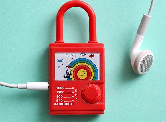 80s toys childhood - miniature rainbow radio