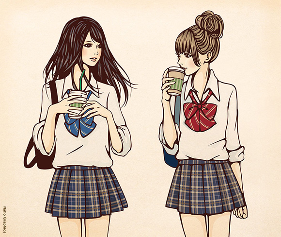 Naho Graphics Japanese Schoolgirls