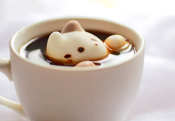 cat cafe marshmallow coffee