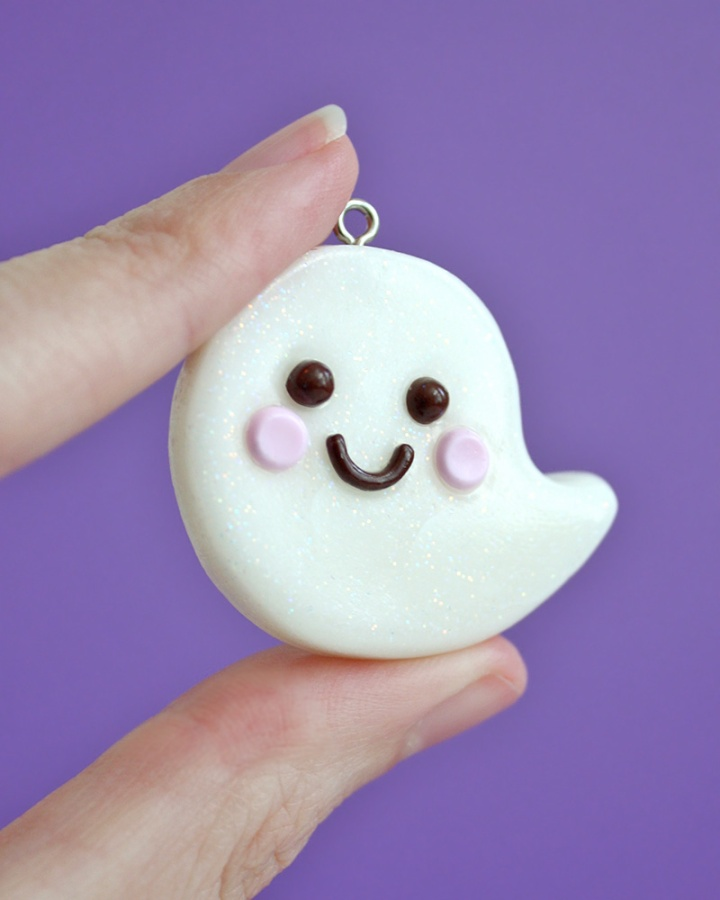 Kawaii Ghost Clay Charm DIY