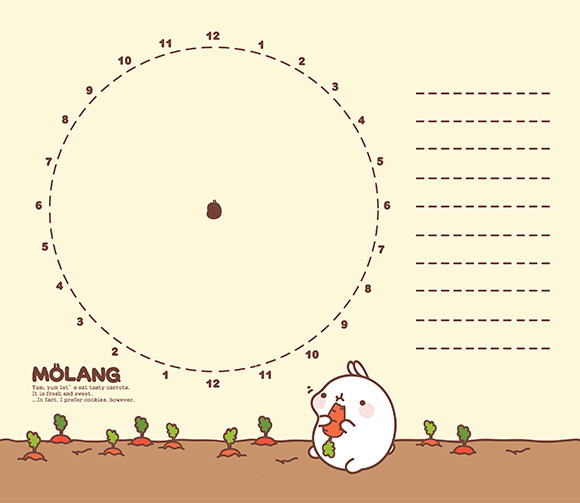 Molang Cute Korean Bunny Timetable Schedule