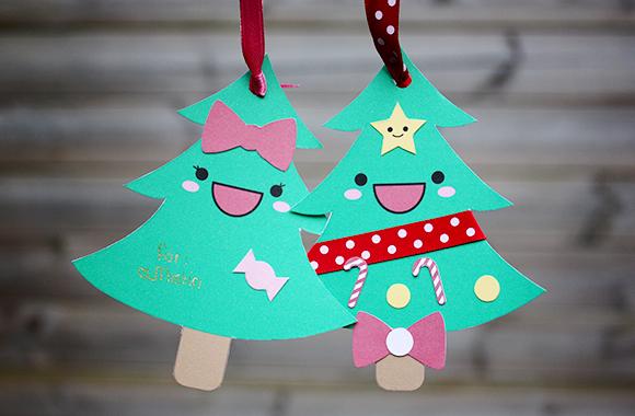 Kawaii Christmas tree cards
