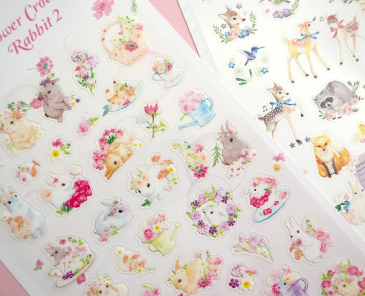 manet korean stickers flower crown rabbit