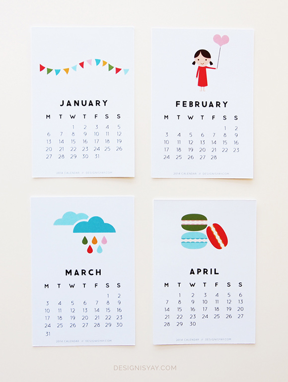 cute 2014 calendar sheduler printable free