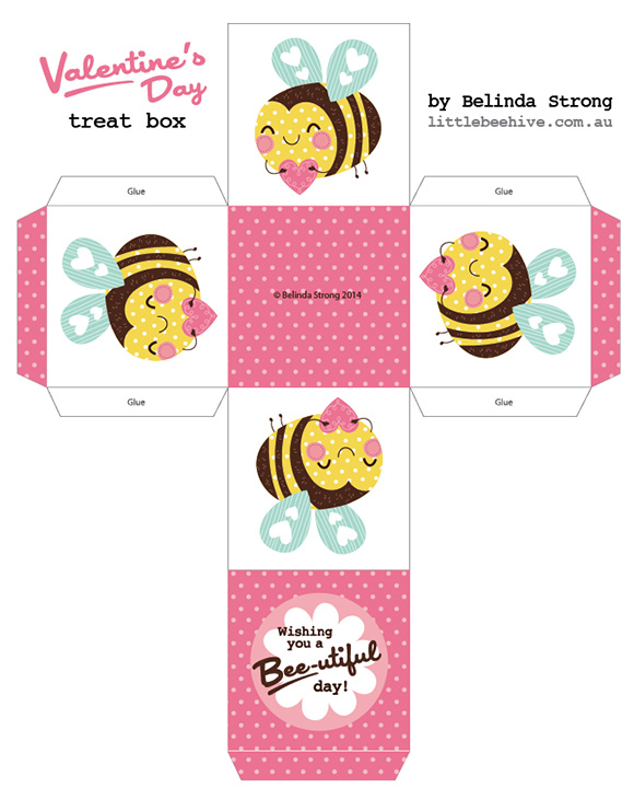 Free kawaii  Box Printables Valentines DIY Craft