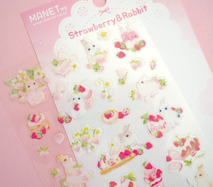 manet korean stickers strawberry rabbit