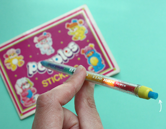 80s toys childhood - rainbow pencil with popples stickers